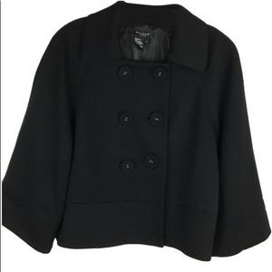 Sandro Black Cropped Button Up Pea Coat L